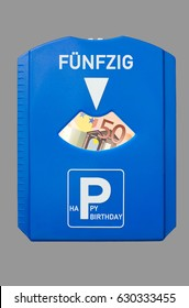 Birthday card for 50th birthday with the German word for fifty and 50 Euro bank note