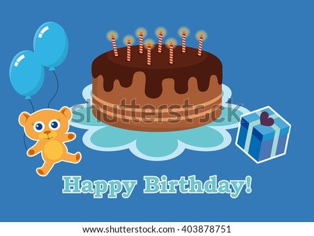 Birthday Card Boy Birthday Cake Kids Stock Illustration 403878751