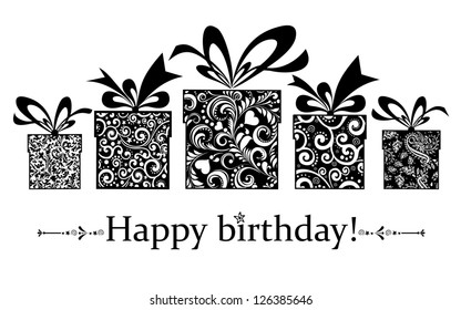 Birthday card. Celebration background with gift boxes and place for your text. vector illustration