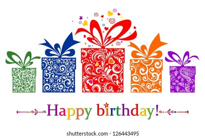Birthday card. Celebration red background with gift boxes and place for your text.  illustration