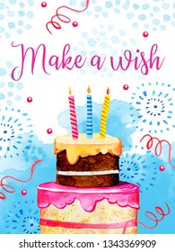 Birthday card design template with cake, fireworks and decorations. Greeting Make a wish. Hand drawn cartoon watercolor sketch illustration with blue watercolor spots on background