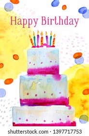 Birthday card design template with cake and colorful spots with greeting. Hand drawn cartoon watercolor sketch illustration