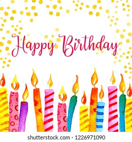 Birthday card design template with candles, decorations and wishing. Hand drawn cartoon watercolor sketch illustration on white background