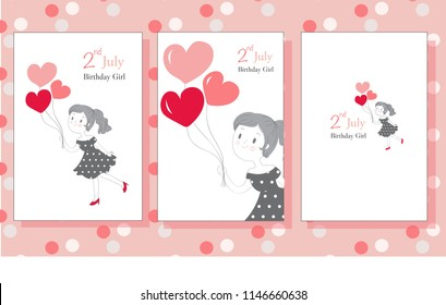 Birthday Card For Girls With Cute Illustration Of Pretty Girl Holding Some Balloons Perfect