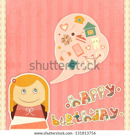 Birthday Card Little Girl Dreams About Stock Illustration 131813756