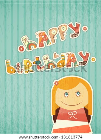 Birthday Card Little Girl Dreams Hand Stock Illustration 131813774