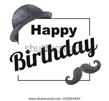 Birthday Card Man Happy Birthday Stock Illustration 662864869
