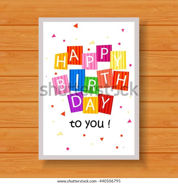 Birthday card on wood background