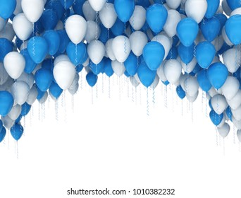Birthday celebration background. Blue and white balloons isolated on white background. 3d render