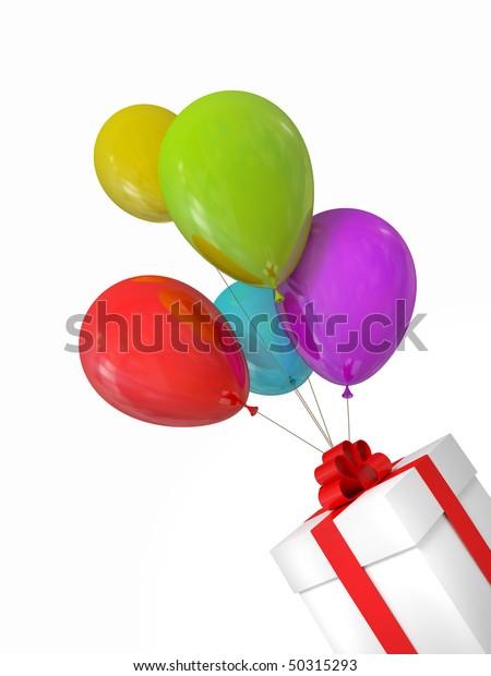 Birthday Clipart Gift Box Coloured Balloons Stock Illustration 50315293