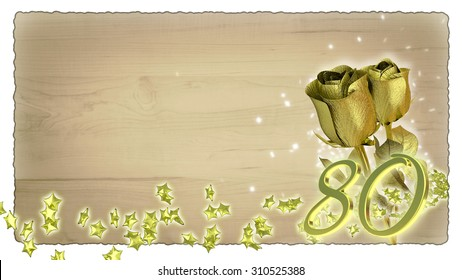 birthday concept with golden roses and star particles - 80th