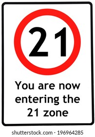 A birthday concept made as a road sign illustrating someone reaching their 21st birthday