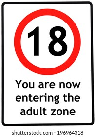 A birthday concept made as a road sign illustrating someone reaching their 18th birthday