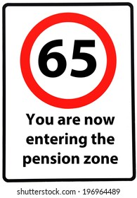 A birthday concept made as a road sign illustrating someone reaching their 65th birthday