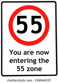 A birthday concept made as a road sign illustrating someone reaching their 55th birthday