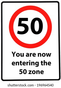 A birthday concept made as a road sign illustrating someone reaching their 50th birthday