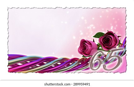birthday concept with pink roses and sparks - sixty-fifth birthday