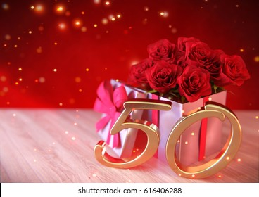 birthday concept with red roses in gift on wooden desk. fiftieth birthday. 50th. 3D render