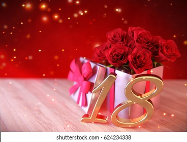 birthday concept with red roses in gift on wooden desk. eighteenth. 18th. 3D render