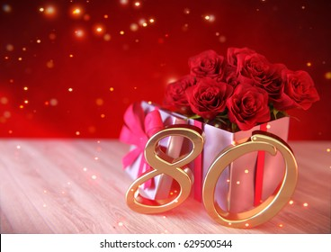 birthday concept with red roses in gift on wooden desk. eightieth. 80th. 3D render