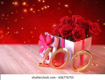 birthday concept with red roses in gift on wooden desk. hundredth. 100th. 3D render