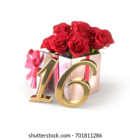 birthday concept with red roses in gift isolated on white background. sixteenth. 16th. 3D render