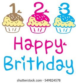 Birthday cupcake Happy birthday cakes foods icons illsutration