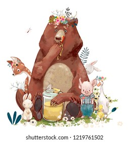 birthday cute animals - bear and other