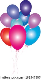 Birthday decoration  colorful balloon illustration