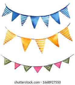 birthday flags blue yellow red green striped watercolor illustration on white background