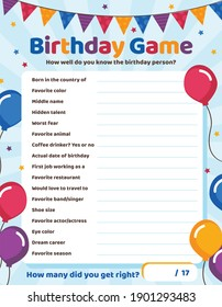 Birthday Game - How well do you know the birthday person?