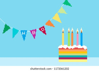 Birthday greeting card with cake and candle and flag rail with happy birthday word on blue background, Pixel cake