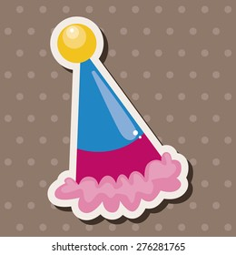 Birthday Hat Cartoon Sticker Icon