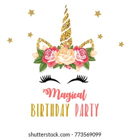 Birthday invitation with unicorn and pink glitter