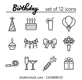 Birthday outline icons. Set of 12 icons. Raster version