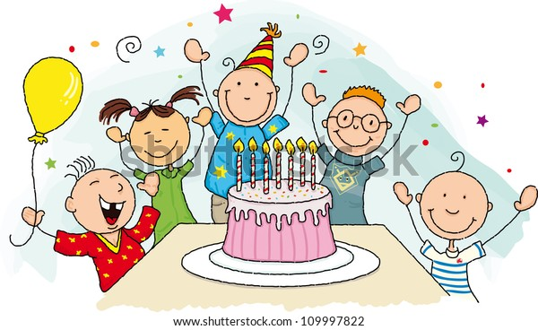 Pleasant Birthday Party Happy Birthday Group Young Stock Illustration 109997822 Birthday Cards Printable Nowaargucafe Filternl