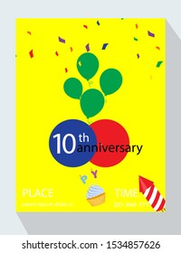 Birthday party invitation card. You are invited! 10th birthday anniversary!