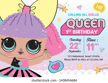 Birthday party invitation with cute lol girl