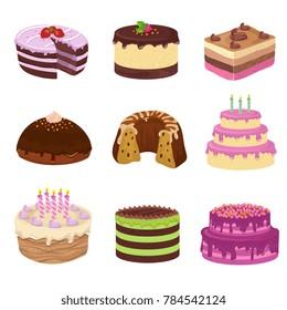 Birthday party tasty cakes. Anniversary decorating cake and cupcakes. Birthday and wedding cake with cream for celebration illustration