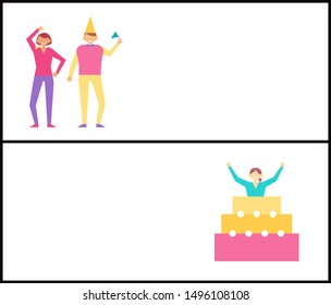 Birthday party web posters set with men and women celebrating happy holiday woman jumping out of festive cake raster in cartoon style online pages