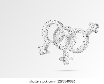 Bisexual pride, people symbol. Wireframe digital 3d illustration. Low poly, man and two women bisexuality concept on white background. Abstract Polygonal origami style LGBT sign.