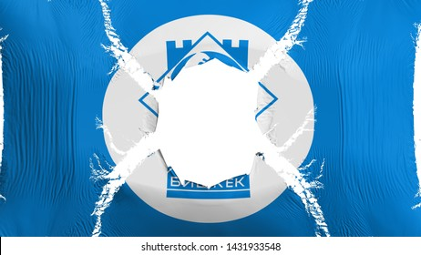 Bishkek, capital of Kyrgyzstan flag with a hole, white background, 3d rendering