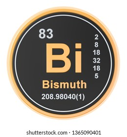 Bismuth Bi chemical element. 3D rendering isolated on white background