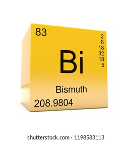 Bismuth chemical element symbol from the periodic table displayed on glossy yellow cube 3D render