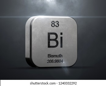 Bismuth element from the periodic table. Metallic futuristic icon 3D rendered with nice lens flare
