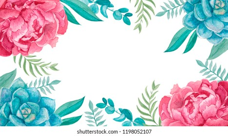 bisness card with watercolor flowers peony succulents