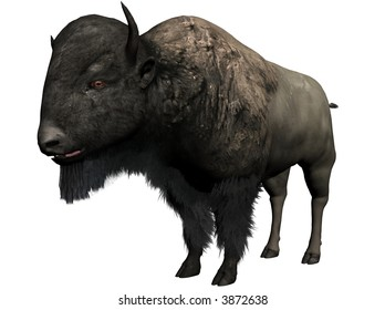 a bison, 3D illustration rendered with bryce