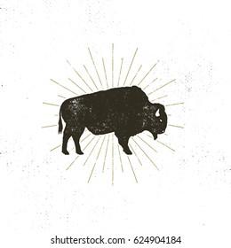 bison icon silhouette. Retro letterpress effect. Buffalo symbol with sunbursts isolated on white background. Use for steak house logo, infographics, logotype. design.