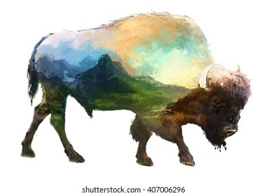 The bison on white background double exposure illustration. Retro design graphic element. This is illustration ideal for a mascot and tattoo or T-shirt graphic. Stock illustration
