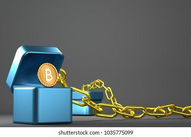 bit coin block chain  concept background 3d